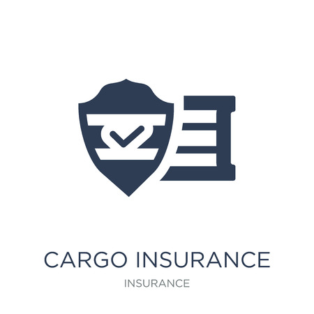 Cargo insurance icon. Trendy flat vector Cargo insurance icon on white background from Insurance collection, vector illustration can be use for web and mobile, eps10 Banque d'images - 112100181