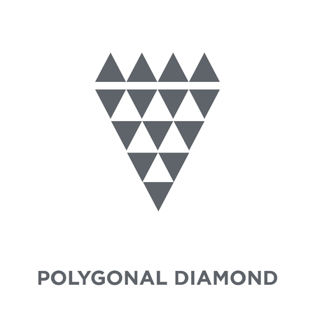 Polygonal diamond shape of small triangles icon. Polygonal diamond shape of small triangles design concept from Geometry collection. Simple element vector illustration on white background.