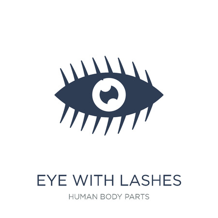 Eye with lashes icon. Trendy flat vector Eye with lashes icon on white background from Human Body Parts collection, vector illustration can be use for web and mobile, eps10  イラスト・ベクター素材