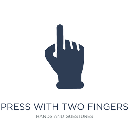 Press with two fingers icon. Trendy flat vector Press with two fingers icon on white background from Hands and guestures collection, vector illustration can be use for web and mobile, eps10 Standard-Bild - 112100374