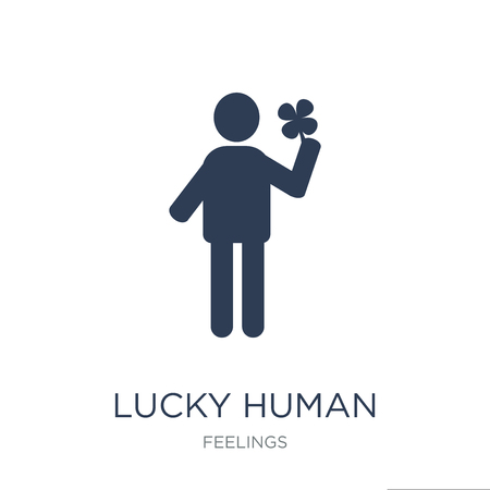 lucky human icon. Trendy flat vector lucky human icon on white background from Feelings collection, vector illustration can be use for web and mobile, eps10