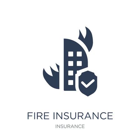 Icona di assicurazione incendio. Icona di assicurazione incendio piatto vettoriale su priorità bassa bianca da collezione di assicurazioni, illustrazione vettoriale può essere utilizzata per il web e mobile, eps10 Vettoriali
