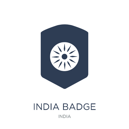 india Badge icon. Trendy flat vector india Badge icon on white background from india collection, vector illustration can be use for web and mobile, eps10