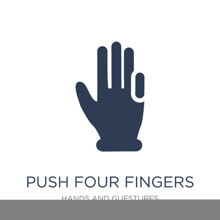 Push four fingers icon. Trendy flat vector Push four fingers icon on white background from Hands and guestures collection, vector illustration can be use for web and mobile, eps10