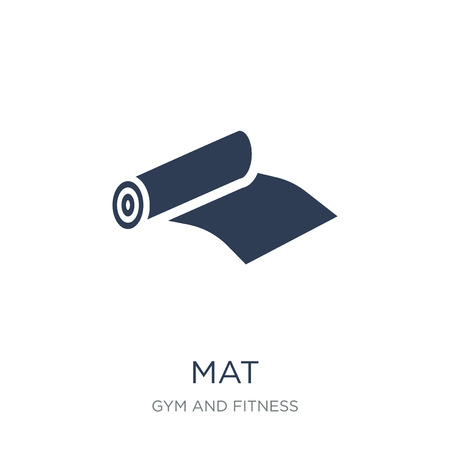 Mat icon. Trendy flat vector Mat icon on white background from Gym and fitness collection, vector illustration can be use for web and mobile, eps10 Ilustração