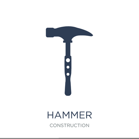 Hammer icon. Trendy flat vector Hammer icon on white background from Construction collection, vector illustration can be use for web and mobile, eps10 Ilustração