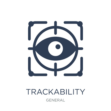 trackability icon. Trendy flat vector trackability icon on white background from General collection, vector illustration can be use for web and mobile, eps10 Ilustrace