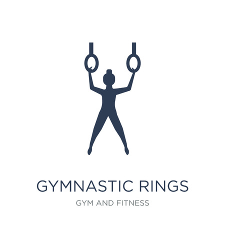 Gymnastic Rings icon. Trendy flat vector Gymnastic Rings icon on white background from Gym and fitness collection, vector illustration can be use for web and mobile, eps10 Imagens - 111974118