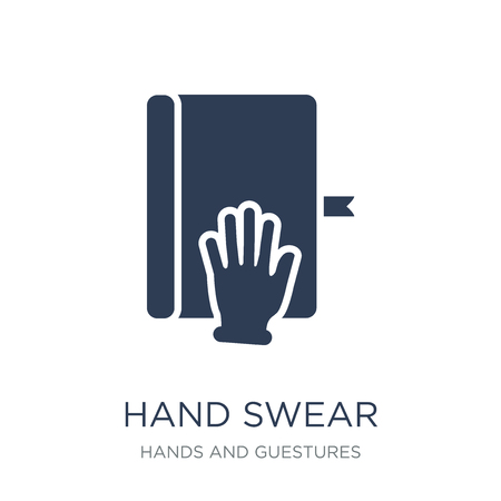 hand Swear icon. Trendy flat vector hand Swear icon on white background from Hands and guestures collection, vector illustration can be use for web and mobile, eps10