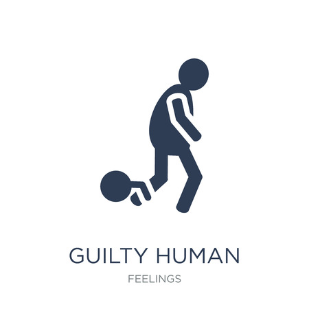 guilty human icon. Trendy flat vector guilty human icon on white background from Feelings collection, vector illustration can be use for web and mobile, eps10  イラスト・ベクター素材
