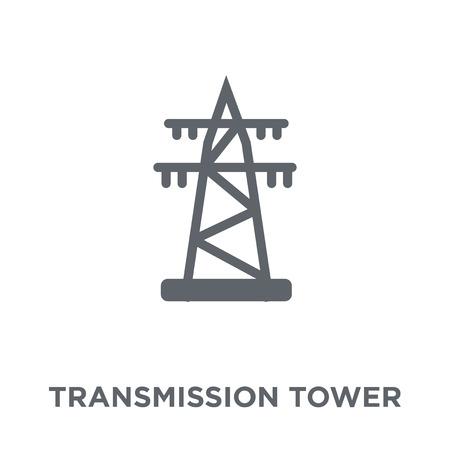 Icono de la torre de transmisión. Concepto de diseño de torre de transmisión de colección Industry. Ilustración de vector de elemento simple sobre fondo blanco. Ilustración de vector