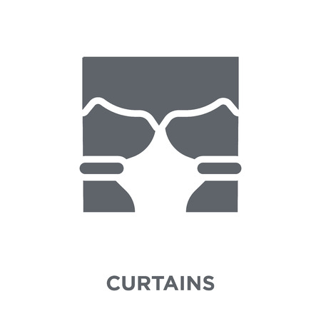 Curtains icon. Curtains design concept from Furniture and household collection. Simple element vector illustration on white background. Ilustracja