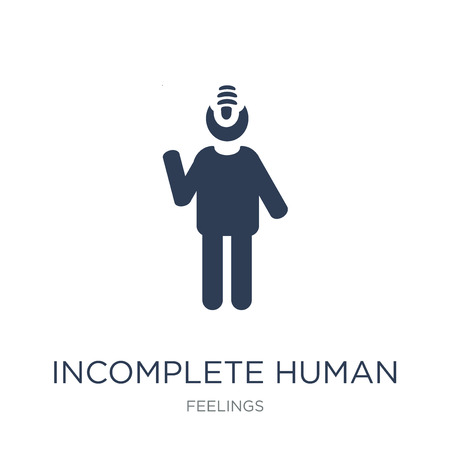 incomplete human icon. Trendy flat vector incomplete human icon on white background from Feelings collection, vector illustration can be use for web and mobile, eps10