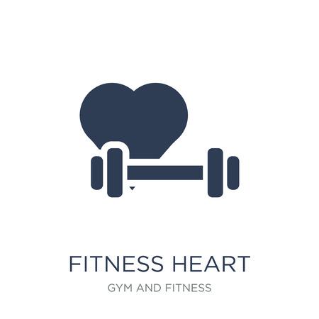 fitness icono del corazón. Icono de corazón de fitness moda vector plano sobre fondo blanco de colección de gimnasio y fitness, Ilustración de vectores se puede utilizar para web y móvil, eps10