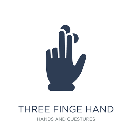 Three fingered hand gesture icon. Trendy flat vector Three fingered hand gesture icon on white background from Hands and guestures collection, vector illustration can be use for web and mobile, eps10