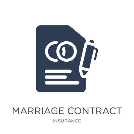 icono de contrato de matrimonio. Icono de contrato de matrimonio de moda vector plano sobre fondo blanco de colección de seguros, Ilustración de vectores se puede utilizar para web y móvil, eps10