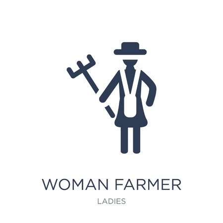 Woman Farmer icon. Trendy flat vector Woman Farmer icon on white background from Ladies collection, vector illustration can be use for web and mobile, eps10
