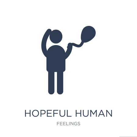 hopeful human icon. Trendy flat vector hopeful human icon on white background from Feelings collection, vector illustration can be use for web and mobile, eps10