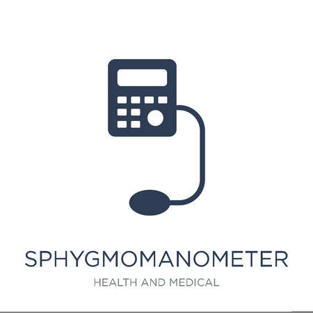 Sphygmomanometer icon. Trendy flat vector Sphygmomanometer icon on white background from Health and Medical collection, vector illustration can be use for web and mobile, eps10 Illustration