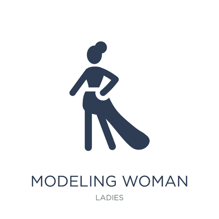 Modeling Woman icon. Trendy flat vector Modeling Woman icon on white background from Ladies collection, vector illustration can be use for web and mobile, eps10