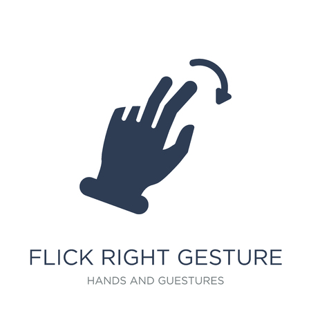 Flick Right gesture icon. Trendy flat vector Flick Right gesture icon on white background from Hands and guestures collection, vector illustration can be use for web and mobile, eps10  イラスト・ベクター素材