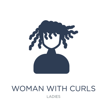 Woman with Curls icon. Trendy flat vector Woman with Curls icon on white background from Ladies collection, vector illustration can be use for web and mobile, eps10 Stock Vector - 112101874