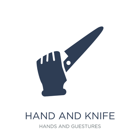 Hand and Knife icon. Trendy flat vector Hand and Knife icon on white background from Hands and guestures collection, vector illustration can be use for web and mobile, eps10  イラスト・ベクター素材
