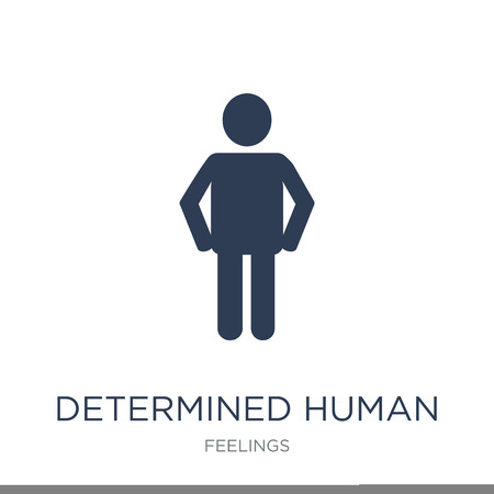 determined human icon. Trendy flat vector determined human icon on white background from Feelings collection, vector illustration can be use for web and mobile, eps10