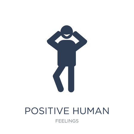 positive human icon. Trendy flat vector positive human icon on white background from Feelings collection, vector illustration can be use for web and mobile, eps10 Vettoriali