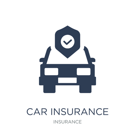 Car insurance icon. Trendy flat vector Car insurance icon on white background from Insurance collection, vector illustration can be use for web and mobile, eps10