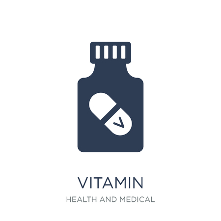vitamin icon. Trendy flat vector vitamin icon on white background from Health and Medical collection, vector illustration can be use for web and mobile, eps10