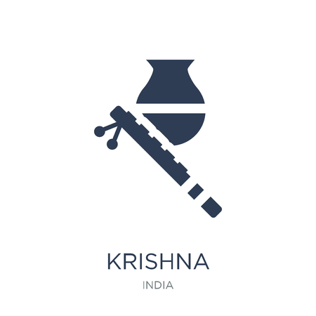 Krishna Janmashtami icon. Trendy flat vector Krishna Janmashtami icon on white background from india collection, vector illustration can be use for web and mobile, eps10 Vettoriali