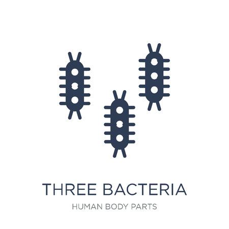 Icono de tres bacterias. Icono de tres bacterias de moda vector plano sobre fondo blanco de la colección de partes del cuerpo humano, Ilustración de vectores se puede utilizar para web y móvil, eps10 Ilustración de vector
