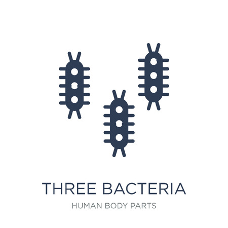 Three Bacteria icon. Trendy flat vector Three Bacteria icon on white background from Human Body Parts collection, vector illustration can be use for web and mobile, eps10