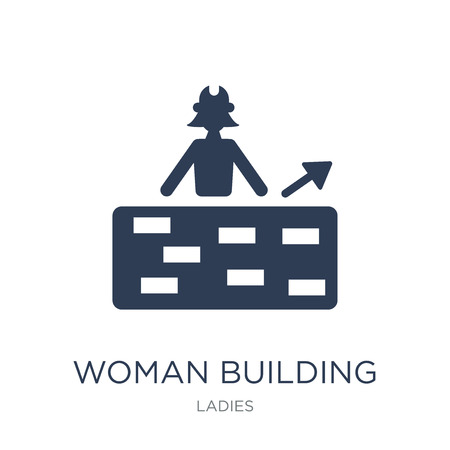 Woman Building a Wall icon. Trendy flat vector Woman Building a Wall icon on white background from Ladies collection, vector illustration can be use for web and mobile, eps10 Reklamní fotografie - 112103323