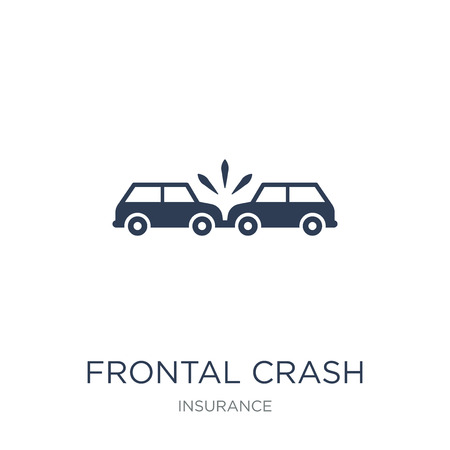 Frontal crash icon. Trendy flat vector Frontal crash icon on white background from Insurance collection, vector illustration can be use for web and mobile, eps10 Stock Vector - 112103329