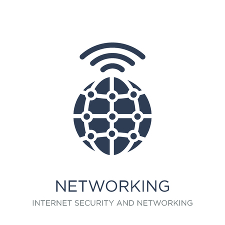 Networking icon. Trendy flat vector Networking icon on white background from Internet Security and Networking collection, vector illustration can be use for web and mobile, eps10