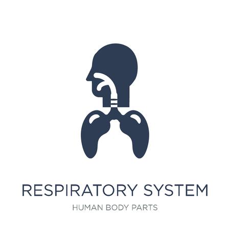 Icono del sistema respiratorio. Icono de sistema respiratorio de moda vector plano sobre fondo blanco de la colección de partes del cuerpo humano, Ilustración de vectores se puede utilizar para web y móvil, eps10