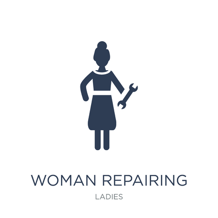 Woman Repairing icon. Trendy flat vector Woman Repairing icon on white background from Ladies collection, vector illustration can be use for web and mobile, eps10 Иллюстрация