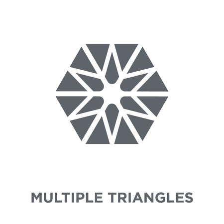 Multiple triangles inside hexagon icon. Multiple triangles inside hexagon design concept from Geometry collection. Simple element vector illustration on white background. Illustration