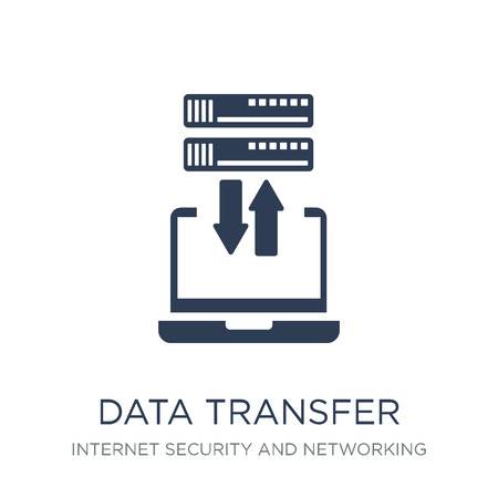 Data transfer icon. Trendy flat vector Data transfer icon on white background from Internet Security and Networking collection, vector illustration can be use for web and mobile, eps10