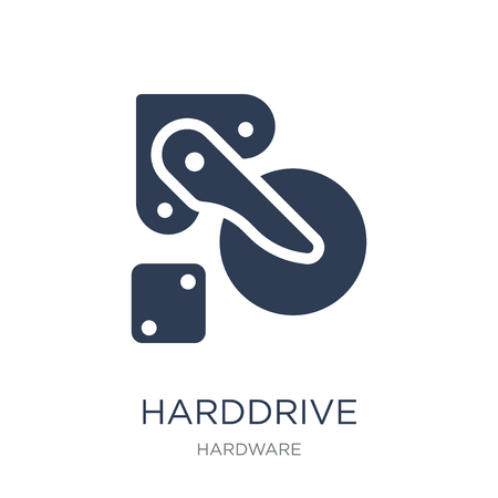 Harddrive icon. Trendy flat vector Harddrive icon on white background from hardware collection, vector illustration can be use for web and mobile, eps10 Illustration