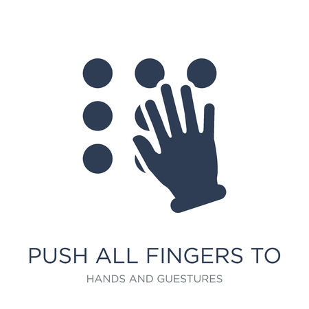 Push all fingers to slide and expand icon. Trendy flat vector Push all fingers to slide and expand icon on white background from Hands and guestures collection, vector illustration can be use for web   イラスト・ベクター素材
