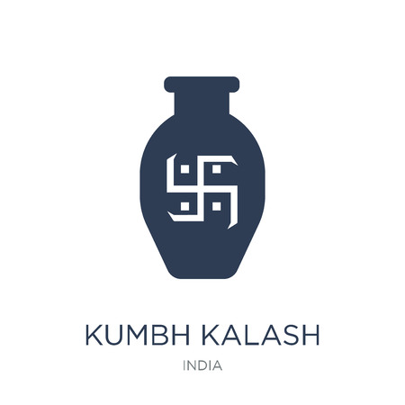 Kumbh kalash icon. Trendy flat vector Kumbh kalash icon on white background from india collection, vector illustration can be use for web and mobile, eps10 Stock Vector - 112104971