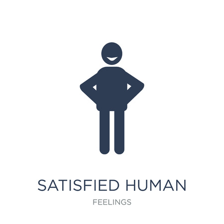 satisfied human icon. Trendy flat vector satisfied human icon on white background from Feelings collection, vector illustration can be use for web and mobile, eps10 Illustration