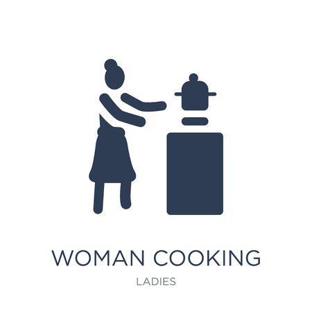 Woman cooking icon. Trendy flat vector Woman cooking icon on white background from Ladies collection, vector illustration can be use for web and mobile, eps10