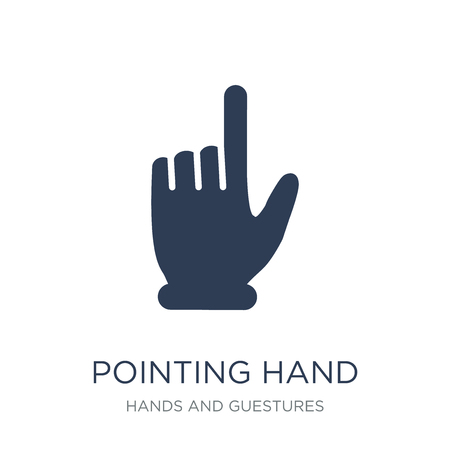 Pointing hand icon. Trendy flat vector Pointing hand icon on white background from Hands and guestures collection, vector illustration can be use for web and mobile, eps10 스톡 콘텐츠 - 112105003