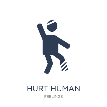 hurt human icon. Trendy flat vector hurt human icon on white background from Feelings collection, vector illustration can be use for web and mobile, eps10
