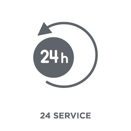 24 Service icon. 24 Service design concept from Hotel collection. Simple element vector illustration on white background. Stock Vector - 112105005