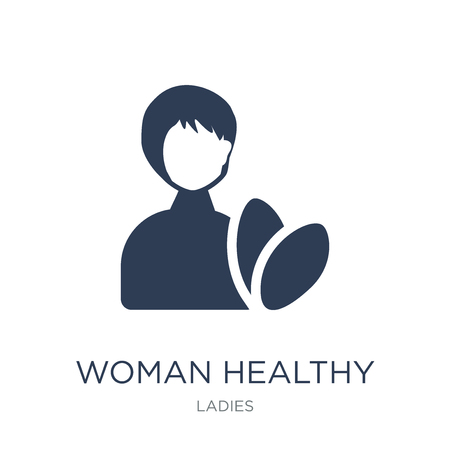 Woman Healthy Treatment icon. Trendy flat vector Woman Healthy Treatment icon on white background from Ladies collection, vector illustration can be use for web and mobile, eps10 Archivio Fotografico - 112105010